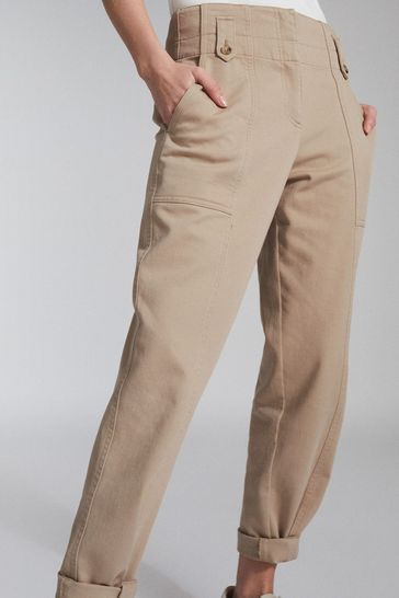 Reiss Camel Bradie Cotton Tapered Cargo Trousers