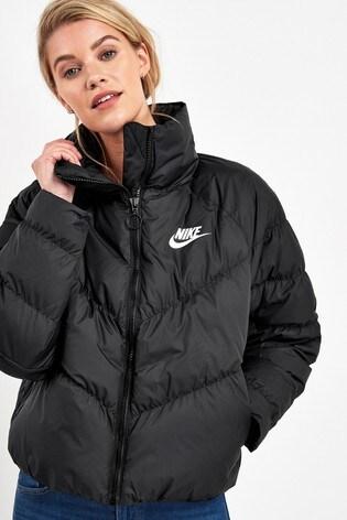 Nike Black Synthetic Filled Jacket