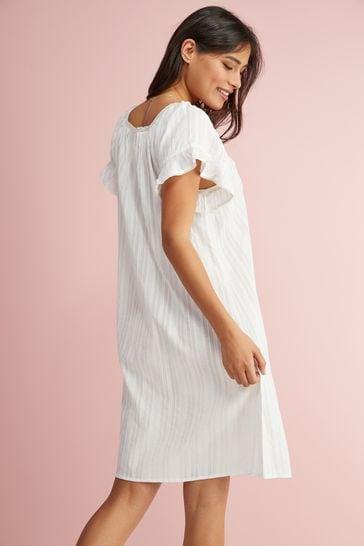 White Square Neck Ruffle Cotton Nightdress