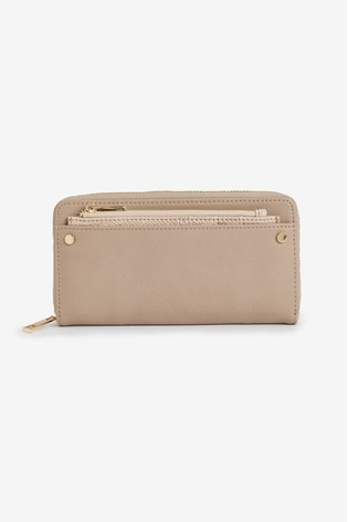 Neutral Zip Purse With Removable Card Holder