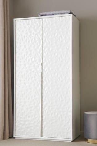 Mode White Textured Double Wardrobe