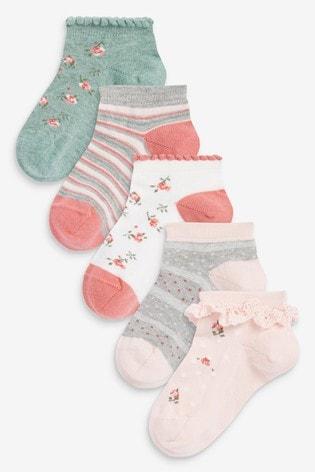 Pink/Sage 5 Pack Floral Trainer Socks