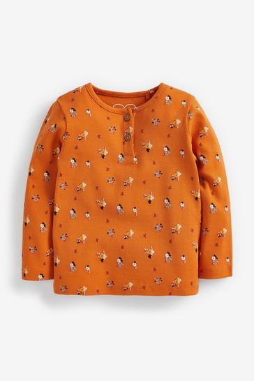 Orange Floral T-Shirt Rib Jersey (3mths-8yrs)