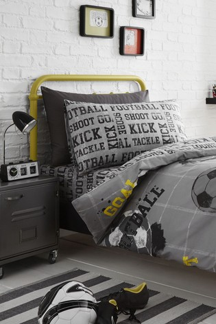 Bedlam Grey Football Duvet Cover And Pillowcase Set
