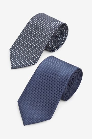 Navy Textured Ties Two Pack With Tie Clip