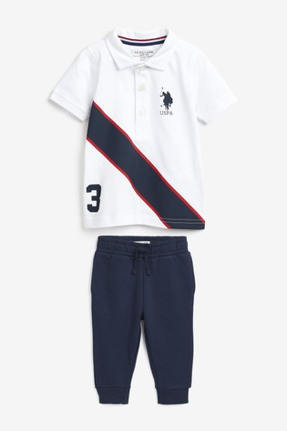 U.S. Polo Assn. White Spliced Player Polo And Jogger Set
