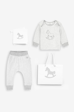 The Little Tailor White Stripe Rocking Horse Jersey Top And Pants Gift Set
