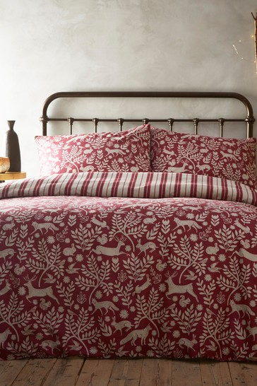 Riva Home Winter Stag Brushed Cotton Flannel Duvet Cover And Pillowcase Set