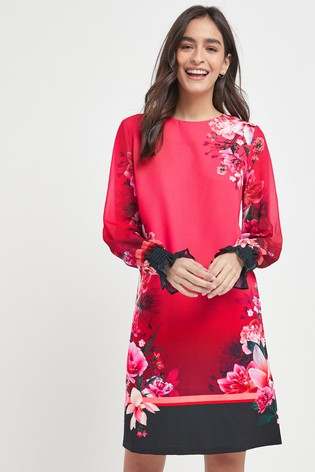 Berry Border Print Dress