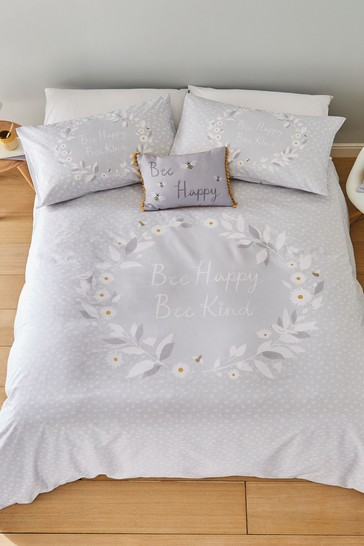 Catherine Lansfield Bee Happy Duvet Cover and Pillowcase Set