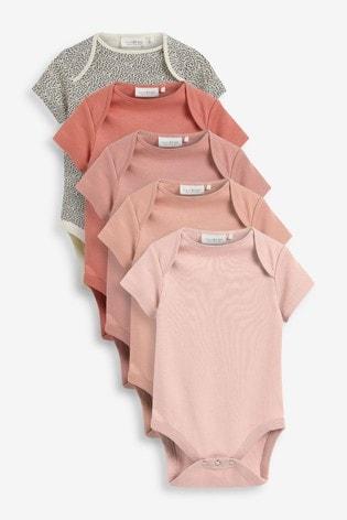 Dusky Pink 5 Pack Essential Short Sleeve Bodysuits (0mths-3yrs)