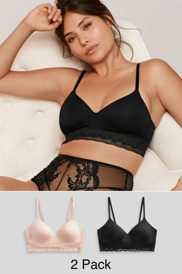 Pink/Black Daisy Lightly Padded Wire Free Modal Bras Two Pack