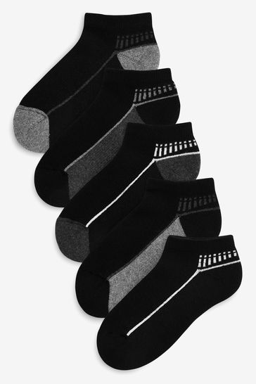 Monochrome 5 Pack Cushioned Sole Trainer Socks (Older)
