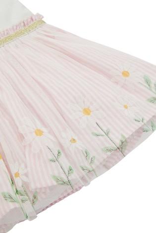 Monsoon Pink Newborn Baby Daisy Disco Dress