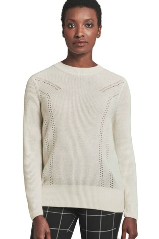 Pure Collection White Gassato Ribbed Pointelle Sweater