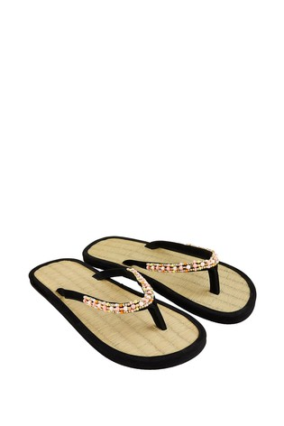 Accessorize Black Multi Beaded Seagrass Sandals