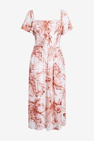 White/Pink Floral Off The Shoulder Dress
