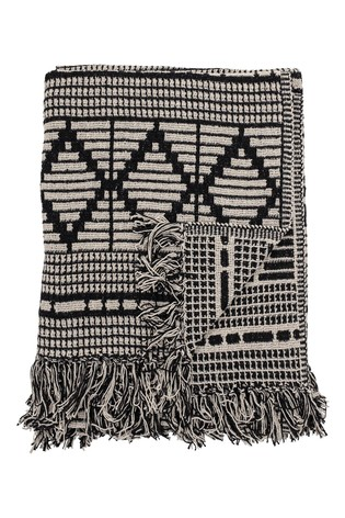Bloomingville Black Recycled Cotton Black Throw