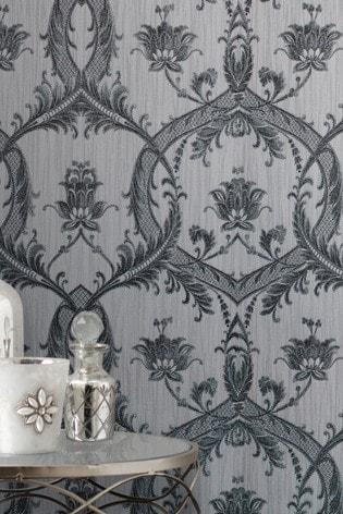 Fine Décor Dark Silver Milano 7 Damask Wallpaper