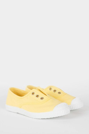 Trotters London Lemon Plum Canvas Shoes