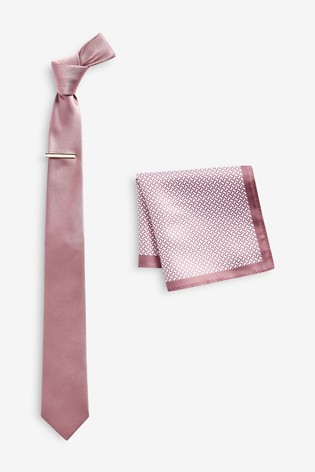Pink Tie With Geometric Pocket Square Set