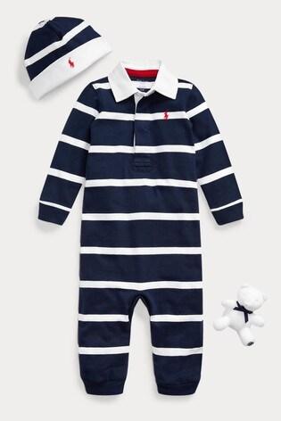 Ralph Lauren Navy Stripe Romper, Hat and Toy Gift Set