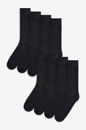 NEXT 4 Pr SIGNATURE LUXURY BAMBOO RICH SOCKS ACTIVE FRESHNESS BLACK MIX 6-8.5