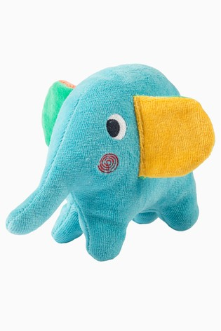 Frugi Blue Froogli Squidge Elephant Ogranic Cotton Soft Rattle