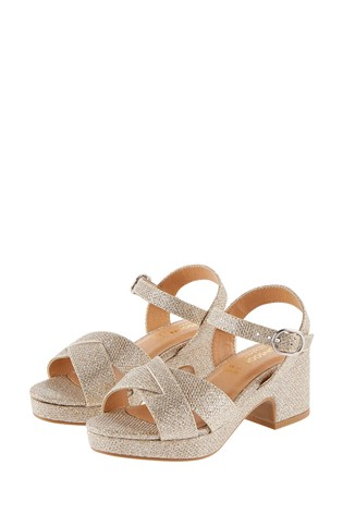Monsoon Gold Shimmer Platform Sandals