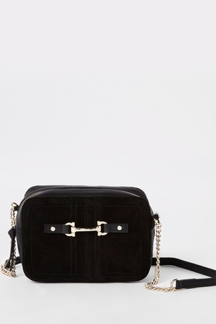 outlet store sale best place arriving River Island Black Leather Snaffle Cross-Body Bag