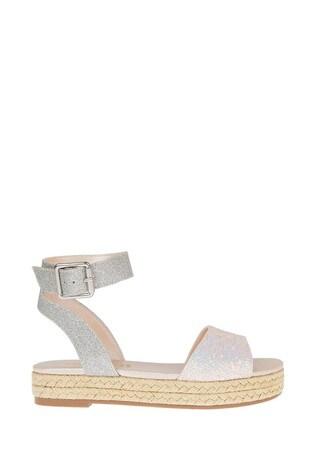 Monsoon Silver Mermaid Glitter Espadrille Sandals