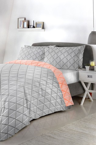 Brooklyn Reversible Geo Duvet Cover And Pillowcase Set by Fusion