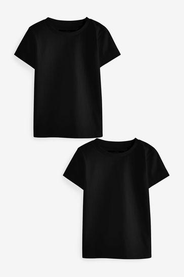 Black 2 Pack Short Sleeve T-Shirts (3mths-7yrs)
