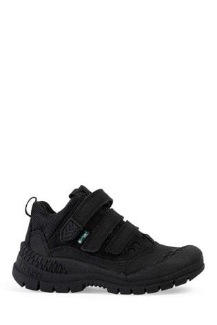 Kickers® Black Trukka Mid Leather Velcro Shoes
