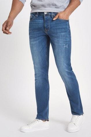 River Island Blue Slim Wash Jeans
