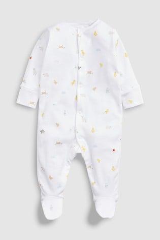 Bright Farm Animal Character Sleepsuit, Short Sleeve Bodysuit, Bib And Hat Set (0-6mths)