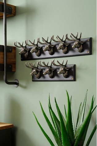 Libra Silver Buckden Stag 5 Wall Hooks