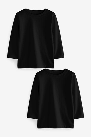 Black Long Sleeve T-Shirts Two Pack (3mths-7yrs)