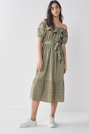 Green Gingham Bardot Dress