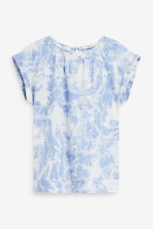 Blue Tie Dye Cap Sleeve Textured Top