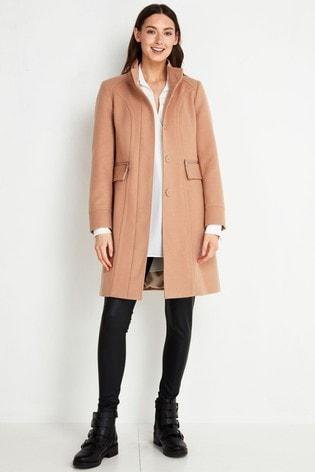 Wallis Tall Camel Faux Wool Funnel Coat