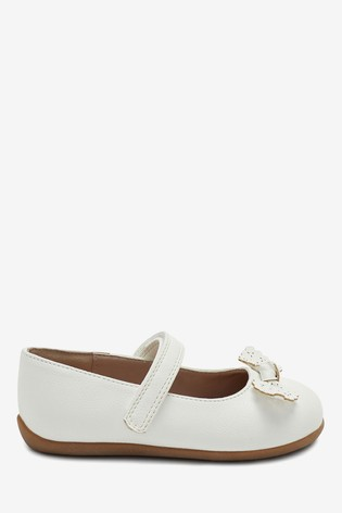 White Standard Fit (F) Bow Mary Jane Shoes
