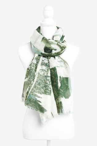 Green Foil Print Lightweight Scarf