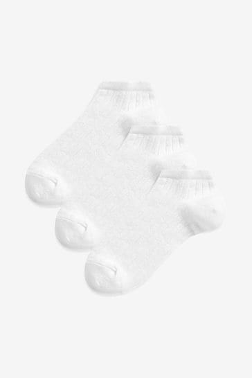 White Metallic Trainer Socks Three Pack
