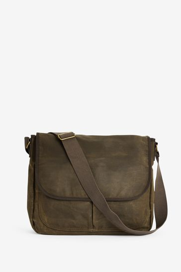 Khaki Waxed Messenger Bag
