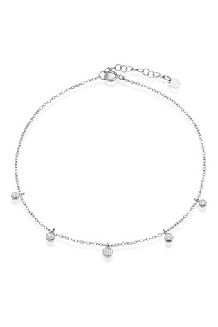 Beaverbrooks Silver Cubic Zirconia Drop Anklet