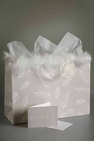 Feather Print Gift Bag