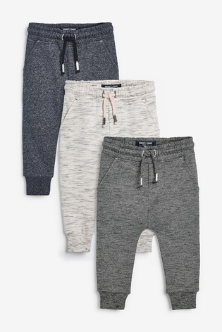 Natural/Grey/Blue 3 Pack Textured Joggers (3mths-7yrs)