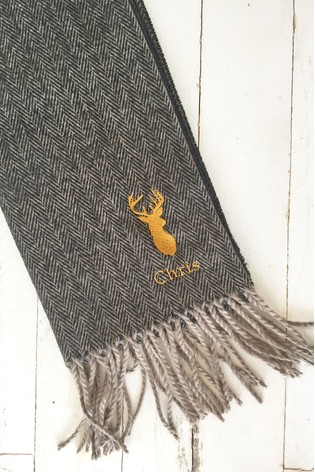 Personalised Stag Herringbone Scarf by Solesmith