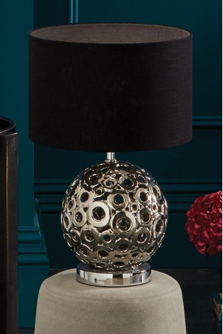 Phillipa Metallic Silver Ceramic Cut Out Table Lamp by Pacific